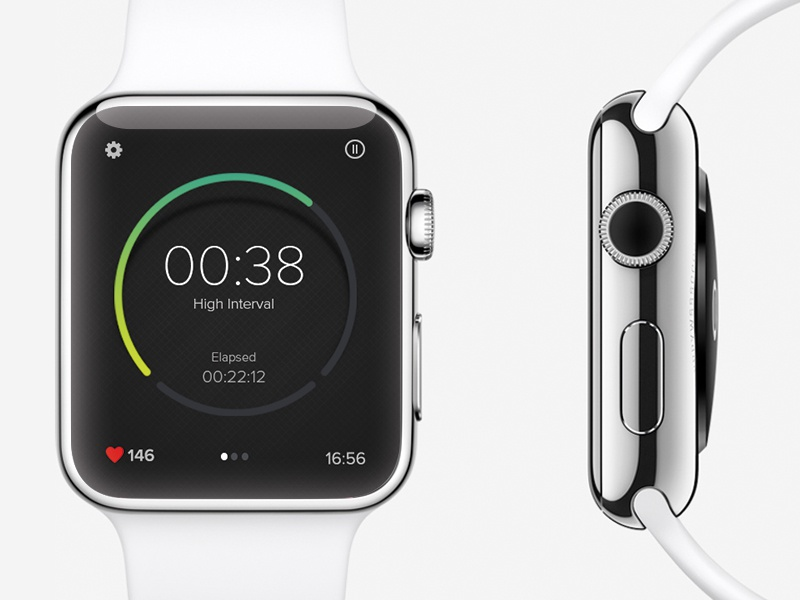 Interval Timer Concept apple watch fitness interval sport timer clock heart rate iwatch ui interface user