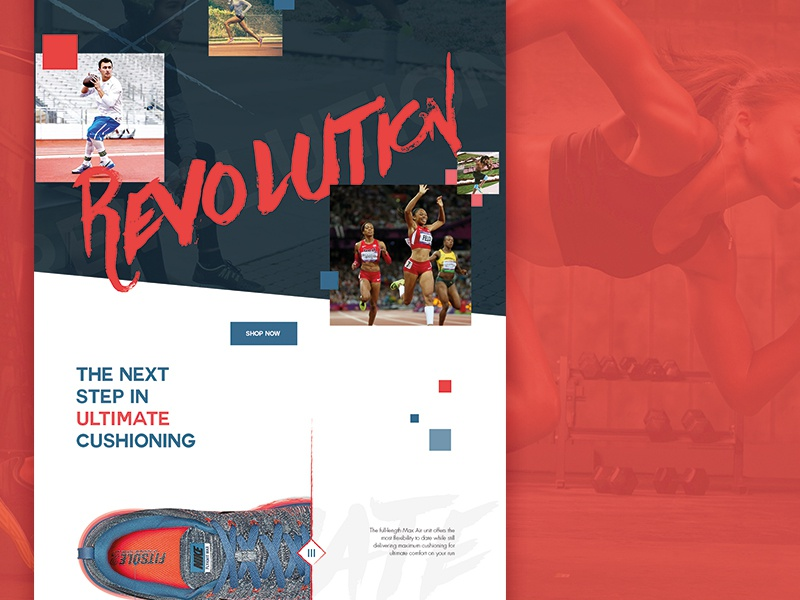 Join The Revolution athelete sport revolution blue red air max trainers nike website mockup
