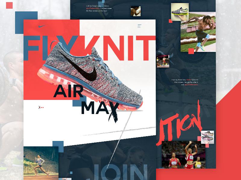 Flyknit Mockup sneakers trainers red blue mockup website athlete sports flyknit nike