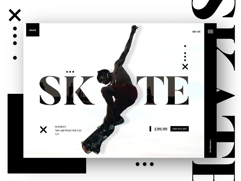 SKATE UI skateboard landingpage creative mono concept design interface web design ui