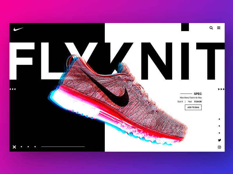 The Flyknit flat displacement mono clean interface web ui web design website