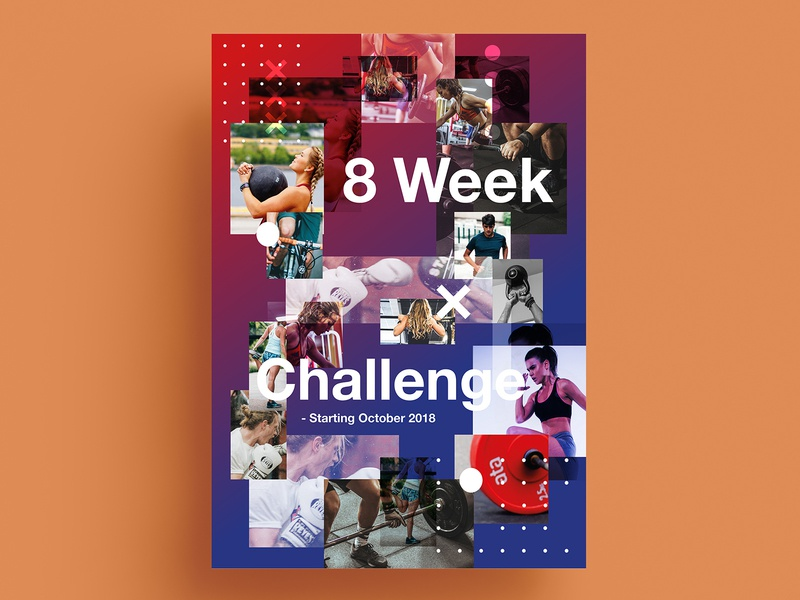 8 weeks of fitness gradient month training personaltrailer cycling running exercise gym challenge fitness poster