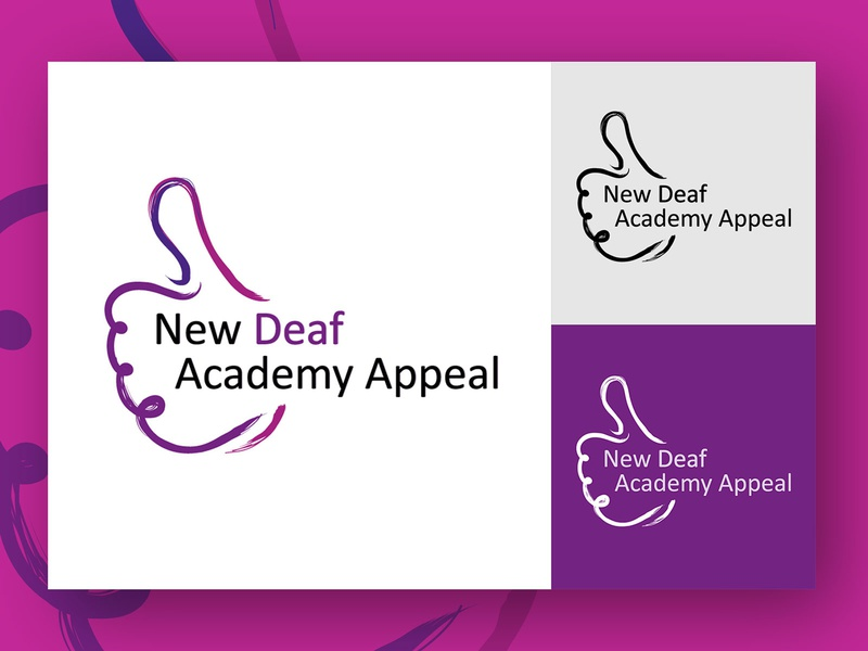New Deaf Academy Logo branding typography sign language education deaf purple brush design logo