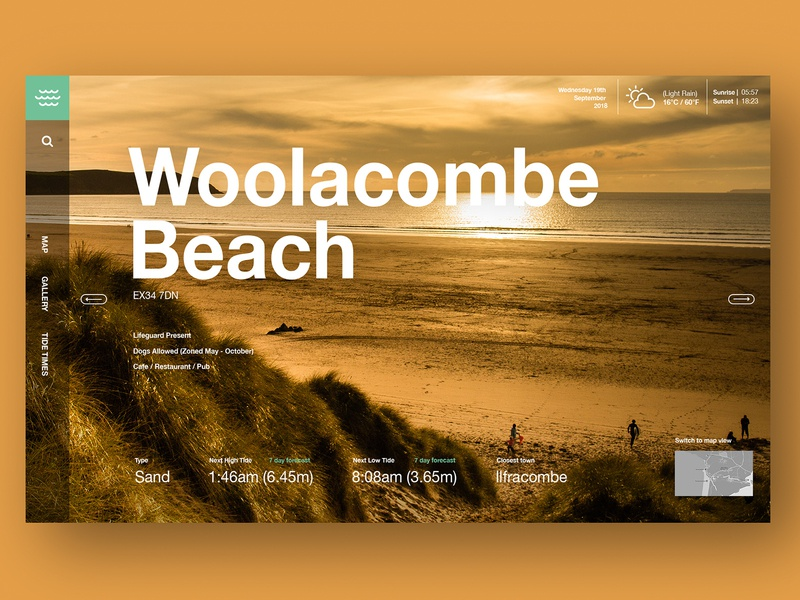 Beach Guide landing page design woolacombe beach beach guide landing page ui website