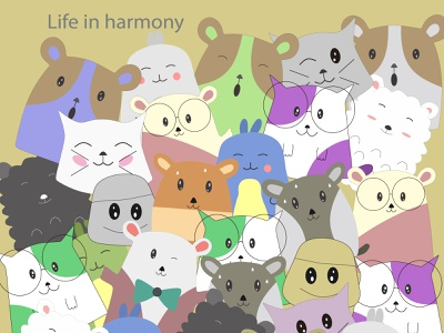 99 life in harmony doodle character fashion harmony life cute doodle animation wallpaper abstract decoration background art vector illustration design