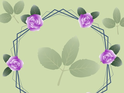 141  circle invite hexagon violet purple rose green leaf circle frame wrapping fashion wallpaper abstract decoration background art vector illustration design