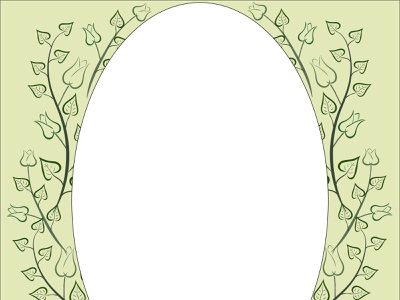 162  frame retro vintage mirror green tulip branch petals leaf frame abstract decoration background art vector illustration design