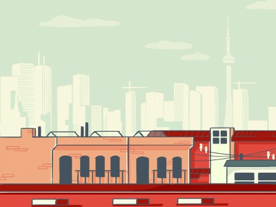 Toronto rooftops skyscrapers urban city green red kensington market cn tower buildings illustration digital illustration toronto