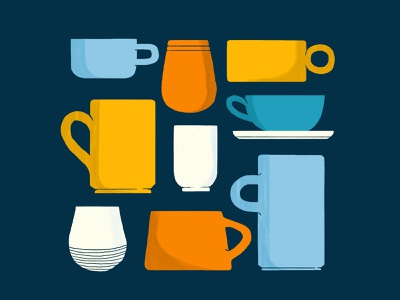 Cuppies! teacup mugs midcentury illustration digital photoshop wacom intuos illustration ceramics cups