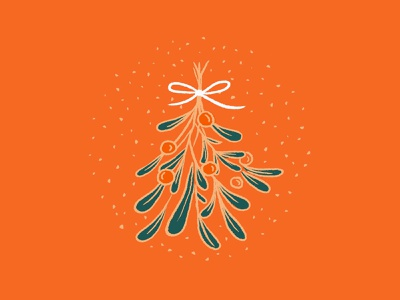 Under the mistletoe festive holiday illustration christmas mistletoe