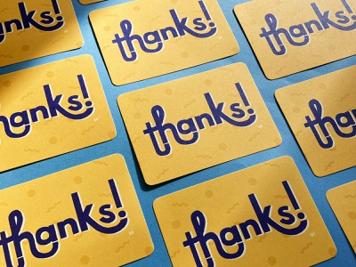 Thank you card thank you card thanks thank you blue yellow lettering ligature hand lettering