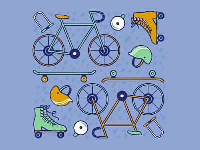Wheels! bike helmet wheels skateboard rollerblades rollerskates bikes illustration