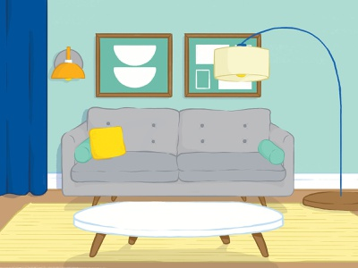 Alberta Motor Assocation Monthly Insider: Half-page illustration couch lamp mid century modern interio living home interior design home decor illustration