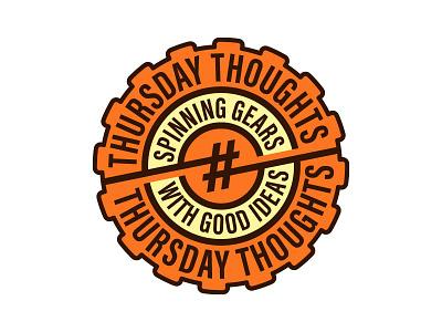 #ThursdayThoughts Hashbadge gear orange badge logo circle thursday thursdaythoughts twitter hashtag hashbadge