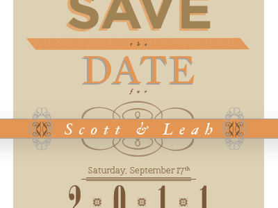 Save the Date engagement announcement save the date orange brown typography vintage chic
