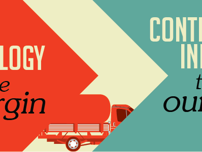 Leveraging / Innovating / Investing tradeshow vector truck orange teal blue cream progression
