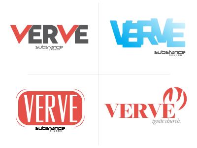 Verve logo wordmark red energy sans serif all caps bold