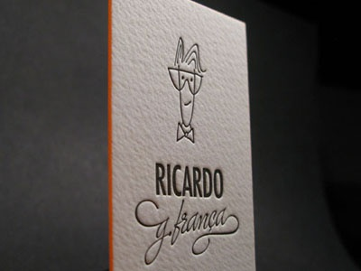 Letterpress Business Card with Avatar edge letterpress business card cotton paper