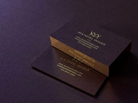 Dark burgundy business cards with gold edges