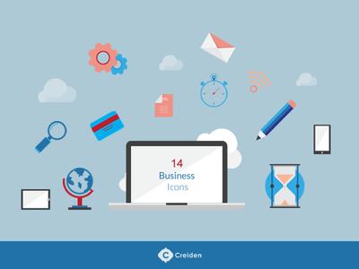 14 Free Flat Business vector icons freebies free items icons webdevelopment webdesign website