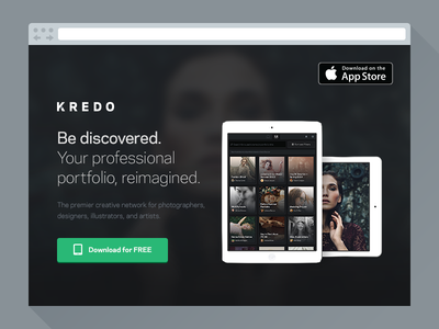 Kredo Website marketing landing page website discover share present portfolio app ipad
