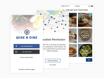 Wine N Dine - Onboarding onboarding location restaurant food ux ui project mobile experience interface daily design app android ios