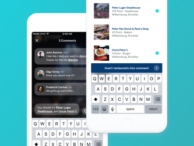 Wine N Dine - Comment Section mention comment restaurant food project mobile interface daily design app android ios