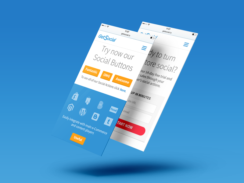 Getsocial.io - Responsive iphone ux ui mockup mobile responsive social button