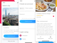 Travel App for iPhone X card login signup app iphone x ios restaurant london city guide travel