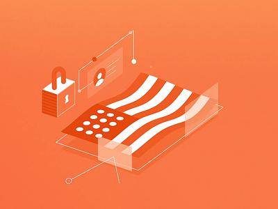 Cyber Security clean security digital isometric monochrome gif animation 2fresh orange ctia