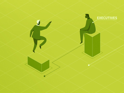 Industry Meetups illustration clean aftereffects characters design green monochrome isometric flat animation