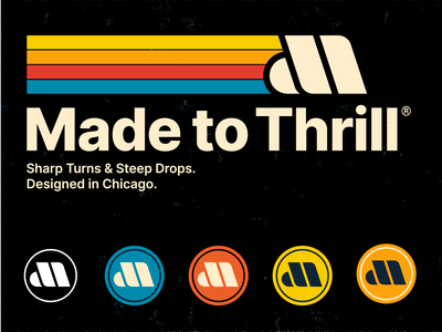 Made to Thrill brand mark subway transit mark branding logo roller coaster vintage retro type badge typography theme park