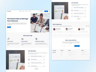 Doku Help · Finance Landing Page app web app product financial landing homepage finance fintech clean landing page web design ux ui