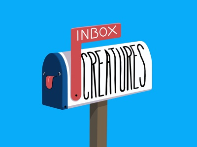 Inbox Creatures tongue mailbox email procreateapp typography illustration cartoon procreate