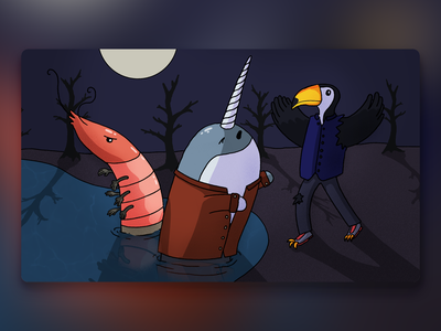 Would You Rather - #066 procreate illustration whale bird tucan narwhal shrimp newsletter