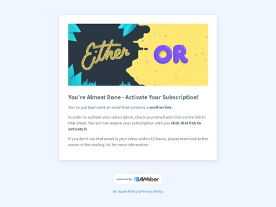 Confirmed Opt-In Page aweber subscription activate thank you default ui newsletter coi