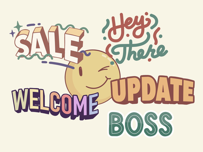 Stickers sketch update welcome sale boss love you stickers