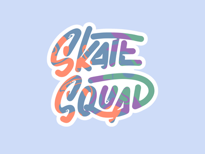 Skate Squad sticker procreate illustrator skate type typogaphy