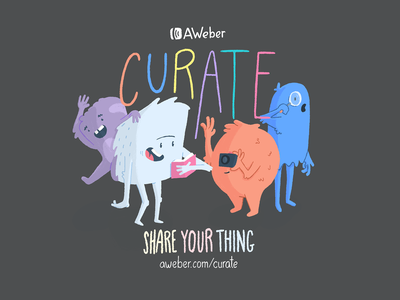 Share Your Thing. creatures typography monster character illustration
