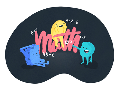 Math! topography math monster character illustration