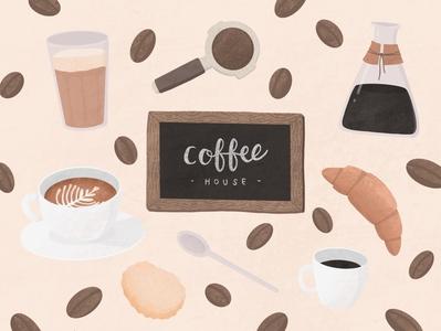 Coffee texture coffee bean bakery coffee shop cafe coffee illustrator denmark copenhagen procreate digitalart digital illustration illustration