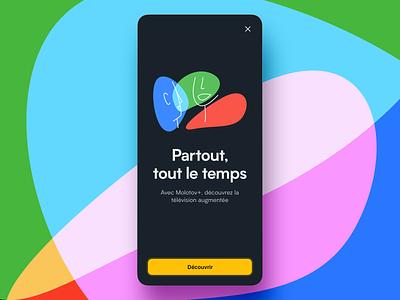 Molotov - Interstitial minimal title colorful rgb app branding design vector illustration ui