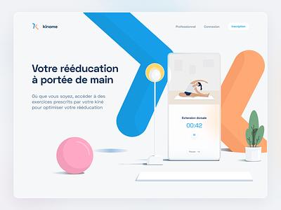 Kinome Hero header glassmorphism smartphone website web flat health branding app illustration vector ui design