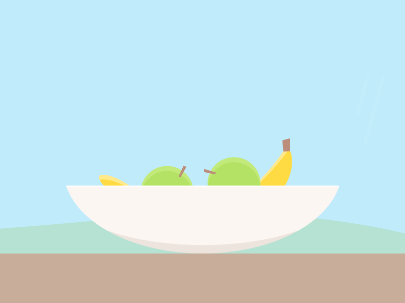 Peaceful fruits kitchen apple banana illustration vector peaceful landscape table fruits