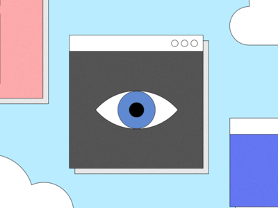 I'm watching you web vector ui design illustration sky retro window eye
