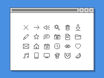 Icons - retro UI pixel retro vector icon ui