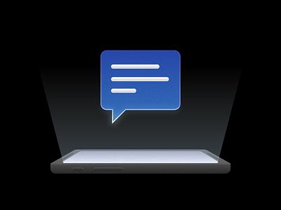 Notification illustration light dark message notification skeuomorphisme flat branding ui illustration vector design