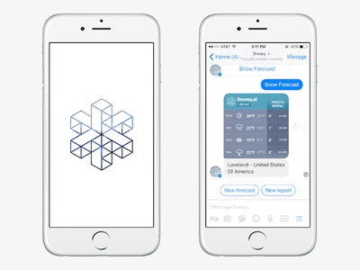 Snowy - The Snow Lovers' Bot mobile apps ios snow flake snow facebook messenger facebook chatbot ruby on rails swift ruby ui design ui