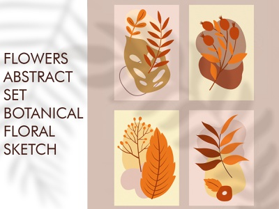 Abstract geometric floral set vector fern color plants leaves floral abstract