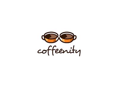 Coffeenity logo brown cafe coffee cup drink food infinity logo mark mug symbol tied